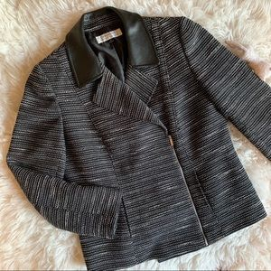 TAHARI | ASL | tweed moto jacket black sz 10 large